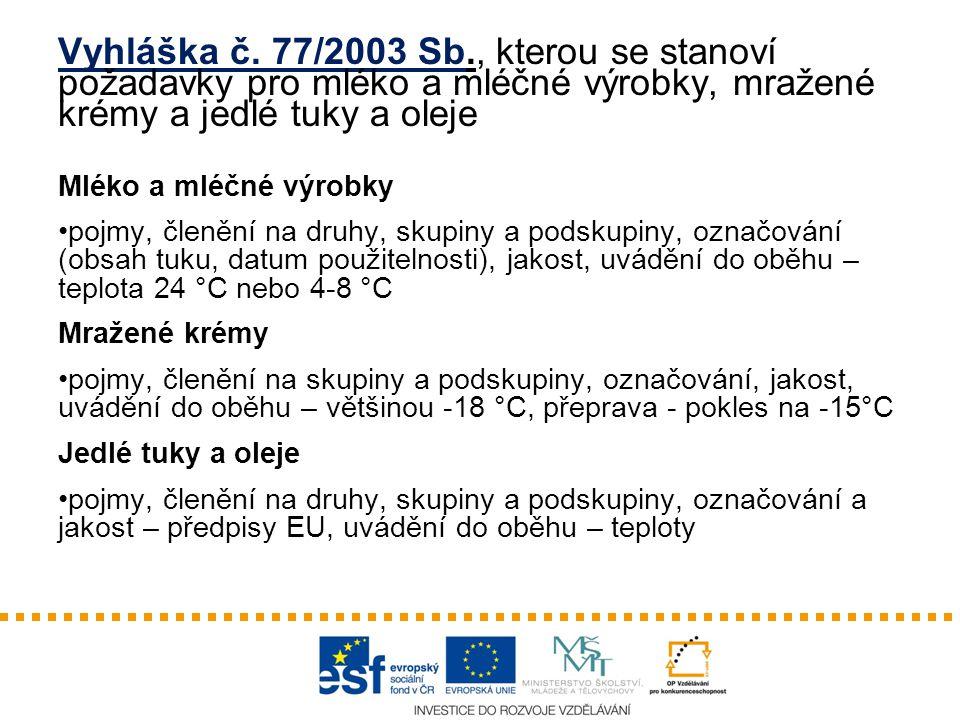 Vyhláška č. 77/2003 Sb., kterou se stanoví požadavky pro mléko a mléčné výrobky, mražené krémy a jedlé tuky a oleje
