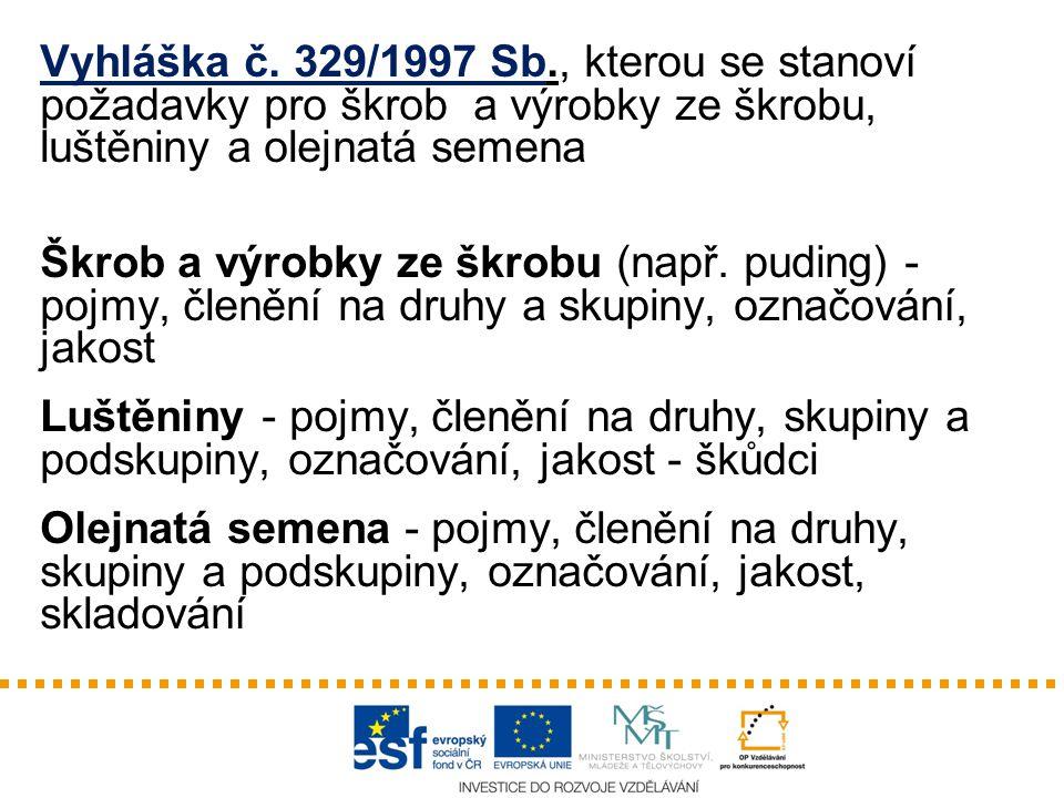 Vyhláška č. 329/1997 Sb., kterou se stanoví požadavky pro škrob a výrobky ze škrobu, luštěniny a olejnatá semena