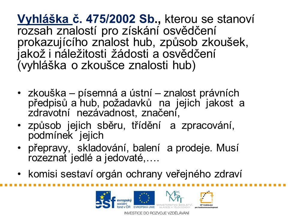 Vyhláška č. 475/2002 Sb., kterou se stanoví rozsah znalostí pro získání osvědčení prokazujícího znalost hub, způsob zkoušek, jakož i náležitosti žádosti a osvědčení (vyhláška o zkoušce znalosti hub)