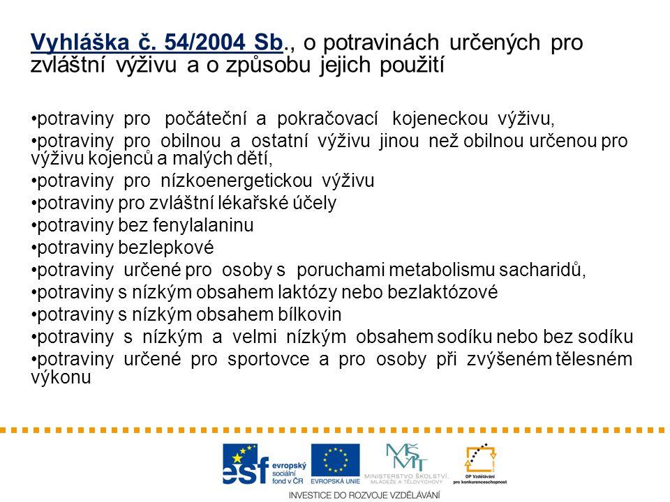 Vyhláška č. 54/2004 Sb., o potravinách určených pro zvláštní výživu a o způsobu jejich použití