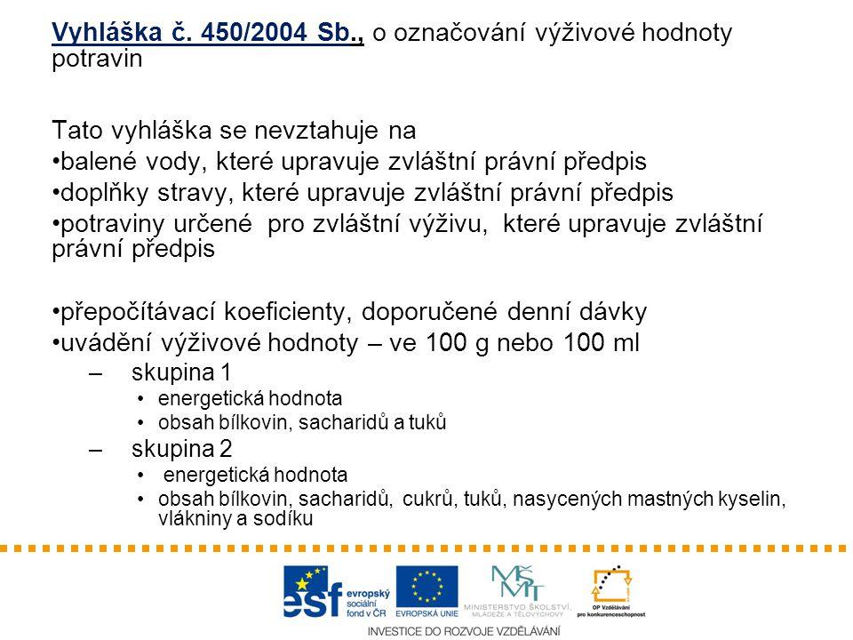 Vyhláška č. 450/2004 Sb., o označování výživové hodnoty potravin