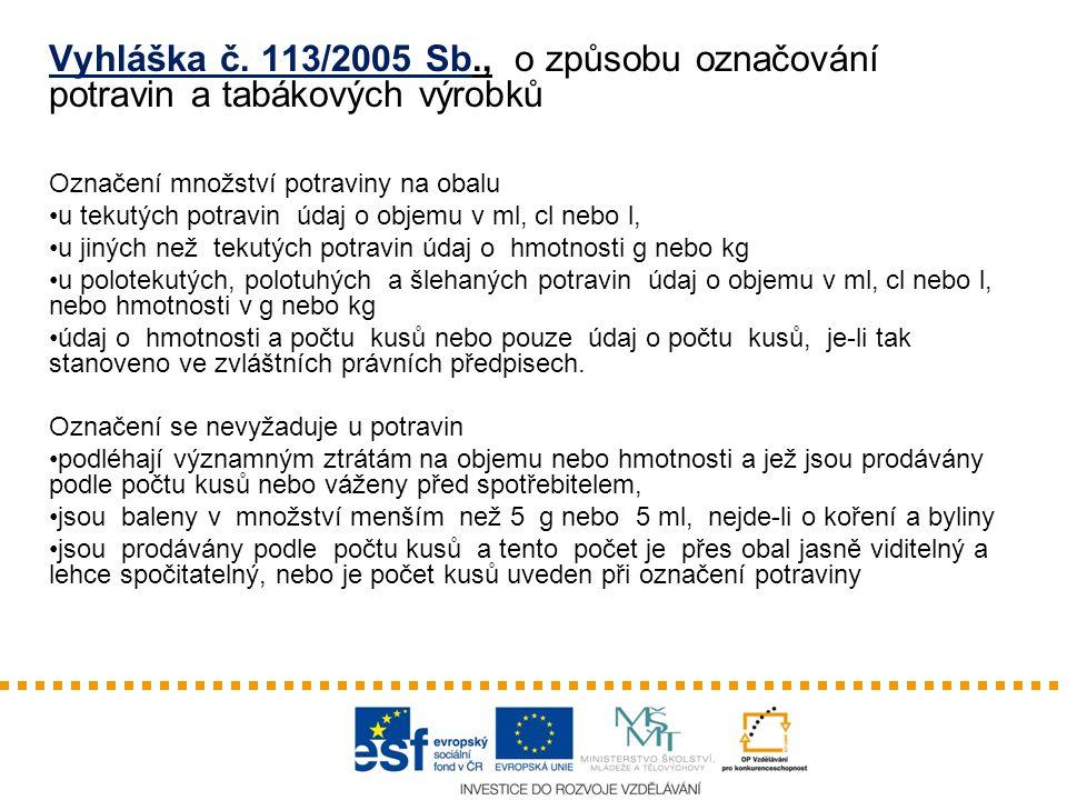Vyhláška č. 113/2005 Sb., o způsobu označování potravin a tabákových výrobků
