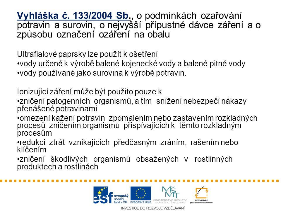 Vyhláška č. 133/2004 Sb., o podmínkách ozařování potravin a surovin, o nejvyšší přípustné dávce záření a o způsobu označení ozáření na obalu