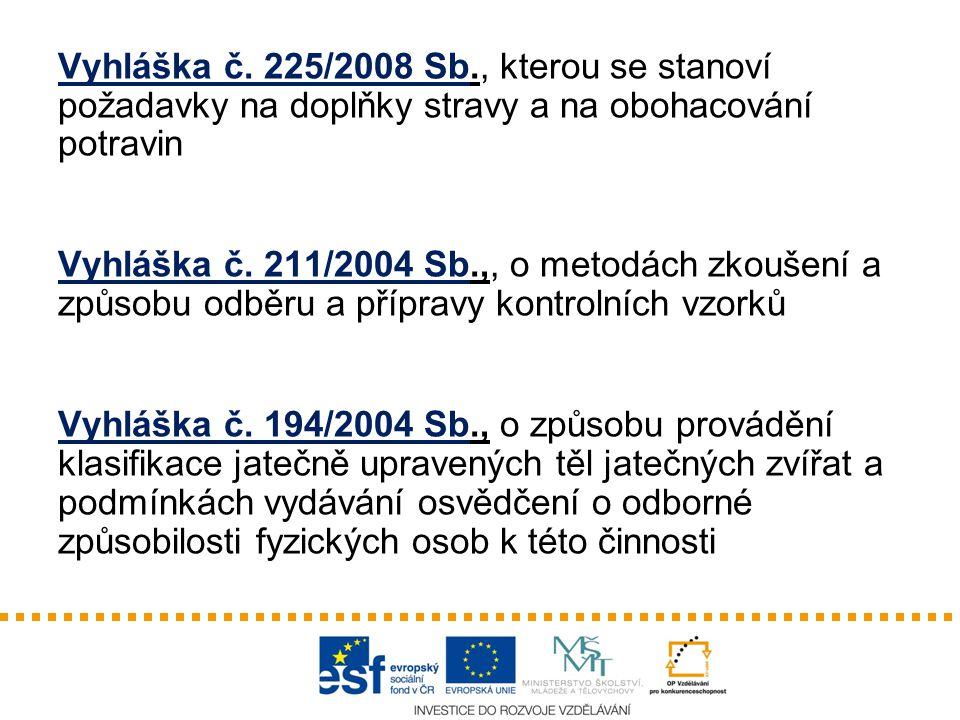 Vyhláška č. 225/2008 Sb., kterou se stanoví požadavky na doplňky stravy a na obohacování potravin