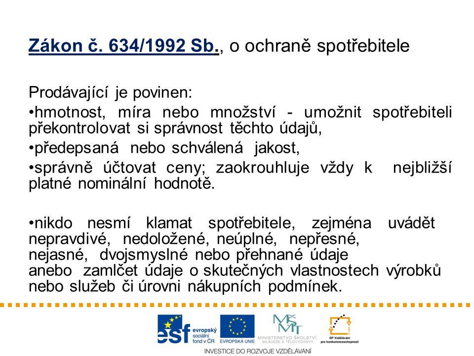 Zákon č. 634/1992 Sb., o ochraně spotřebitele