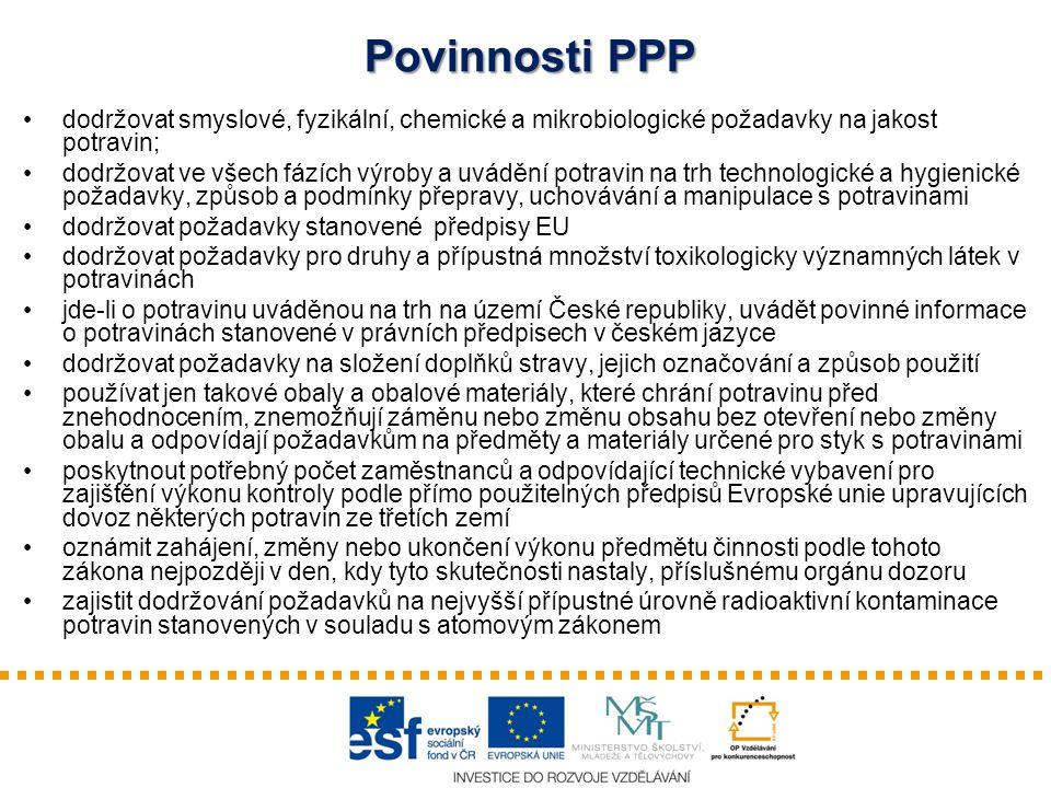 Povinnosti PPP dodržovat smyslové, fyzikální, chemické a mikrobiologické požadavky na jakost potravin;