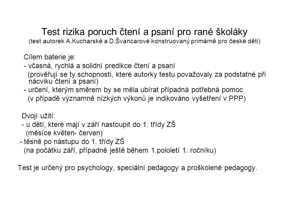 Test rizika poruch čtení a psaní pro rané školáky