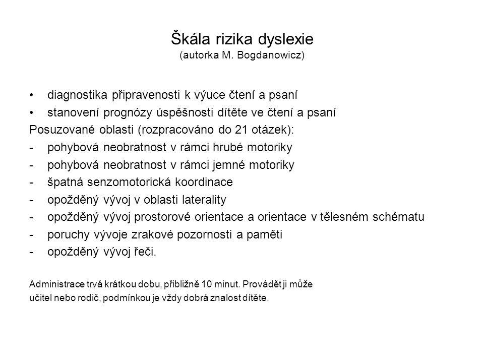 Škála rizika dyslexie (autorka M. Bogdanowicz)