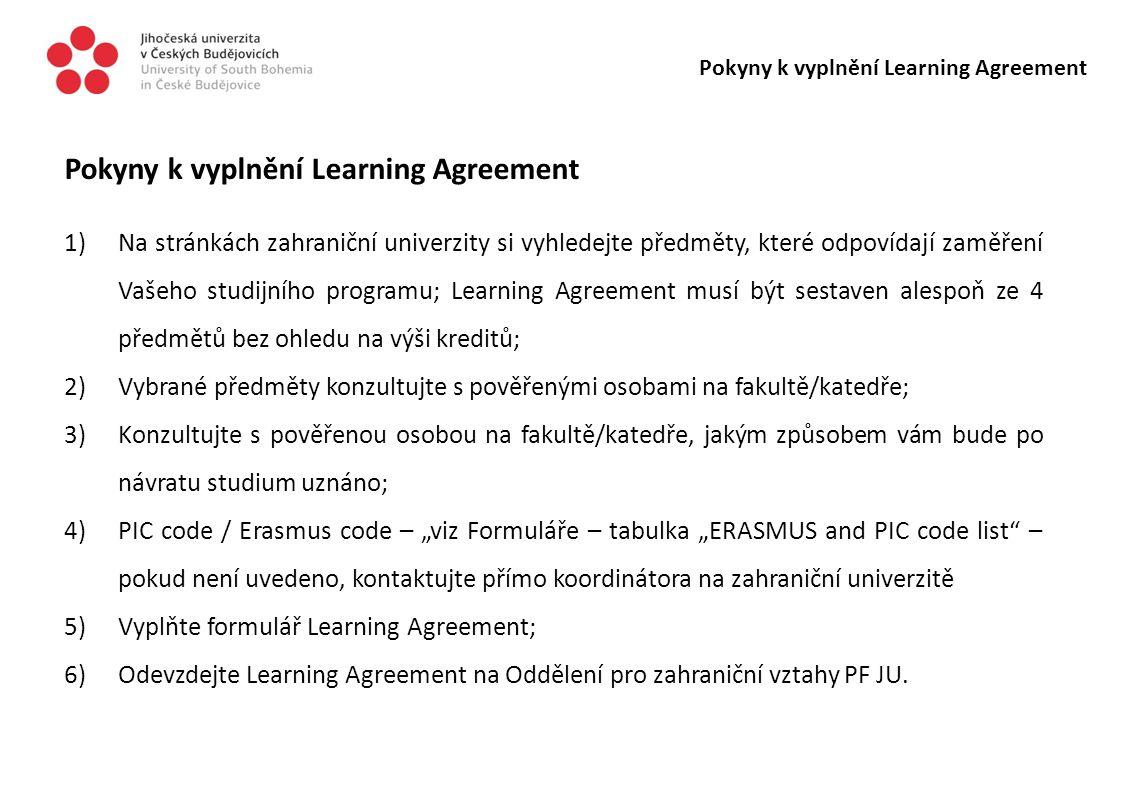 Pokyny k vyplnění Learning Agreement
