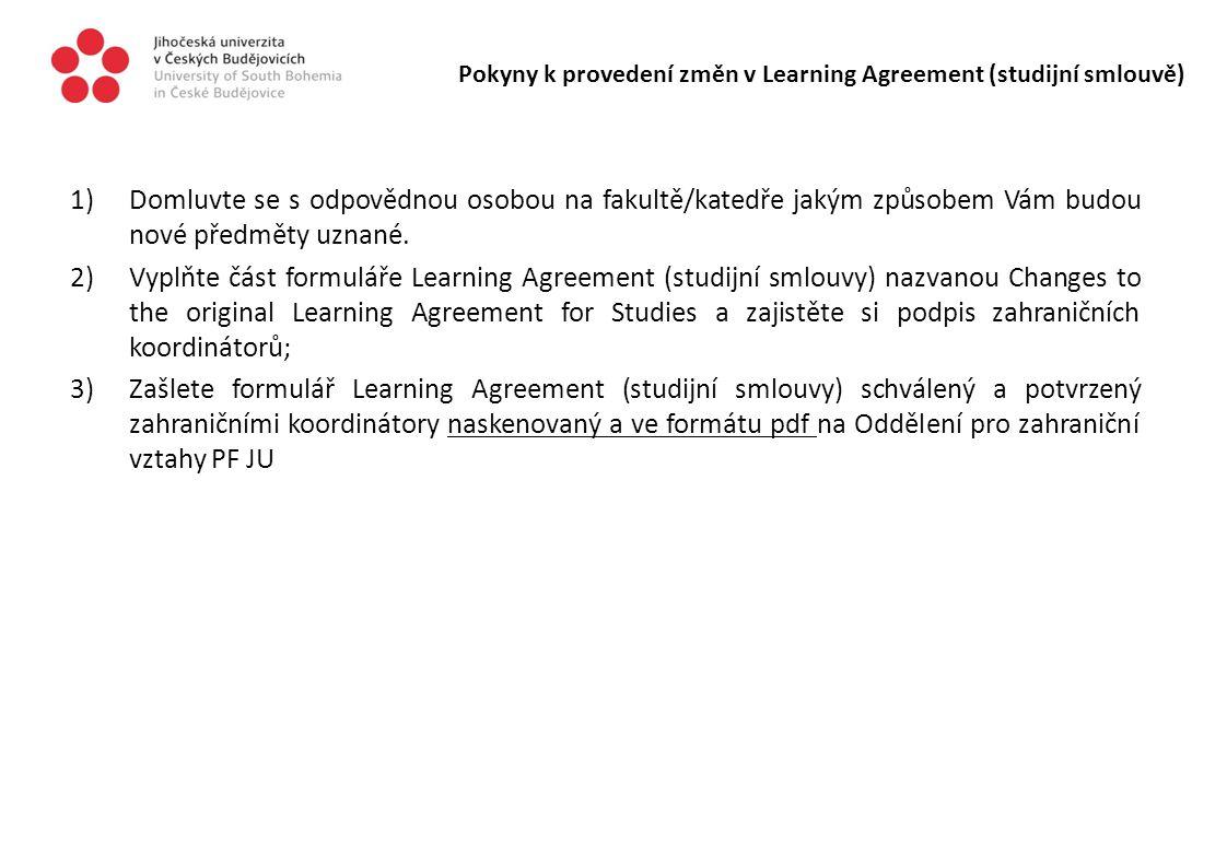 Pokyny k provedení změn v Learning Agreement (studijní smlouvě)