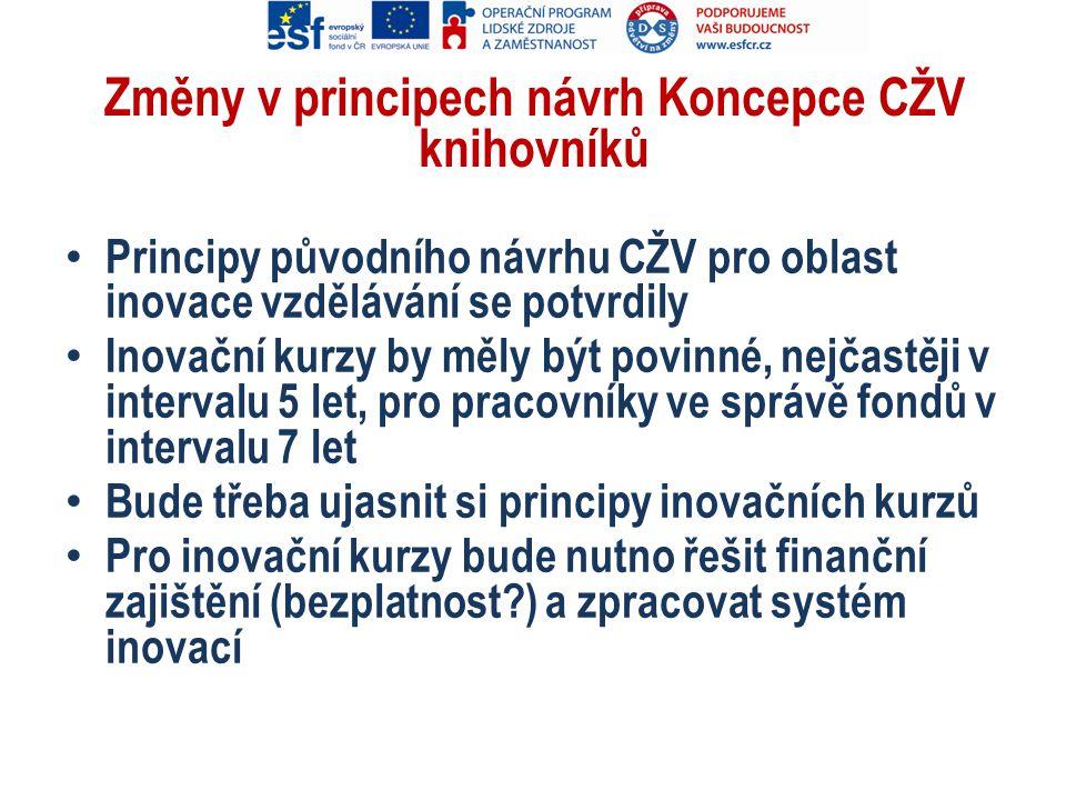 Změny v principech návrh Koncepce CŽV knihovníků