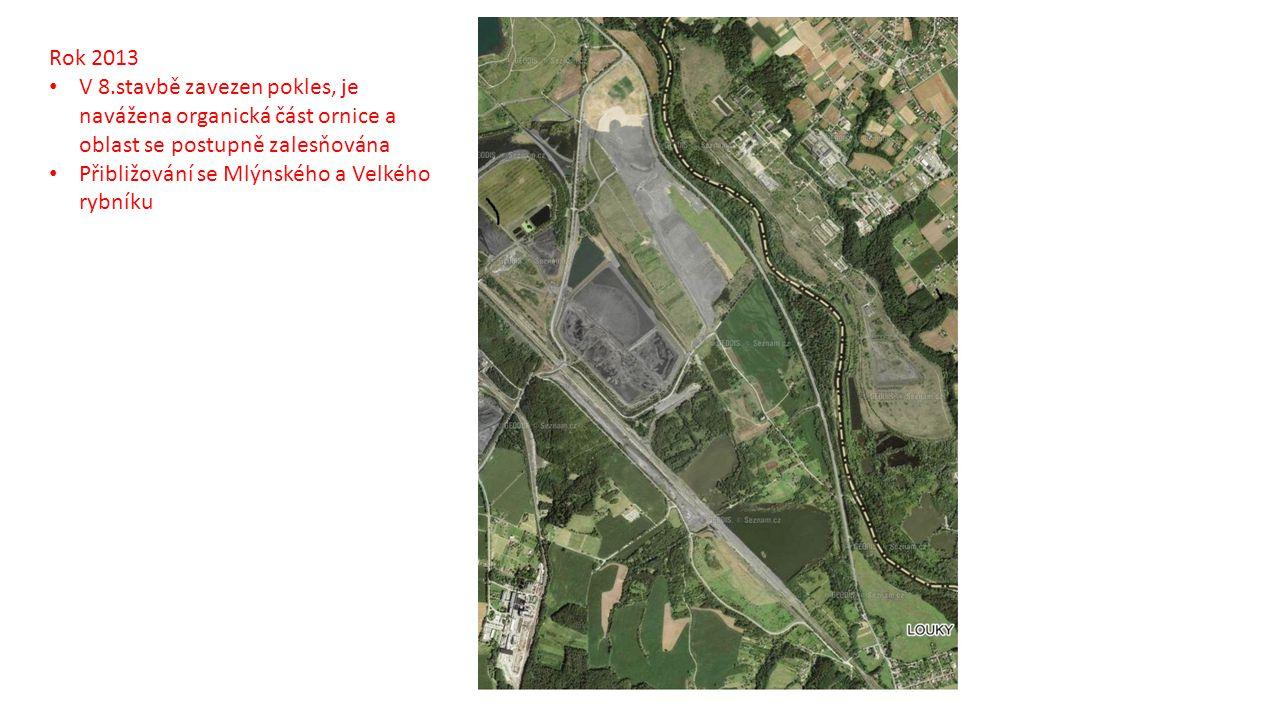 Rok 2013 V 8.stavbě zavezen pokles, je navážena organická část ornice a oblast se postupně zalesňována.