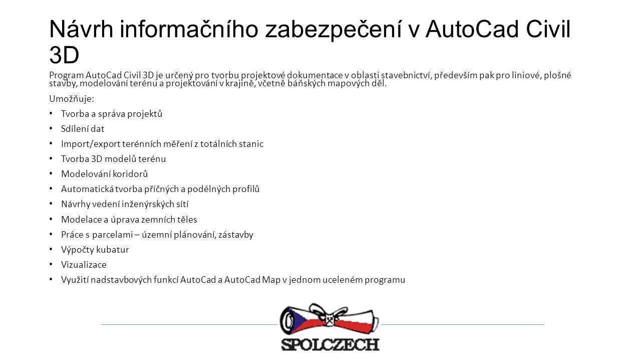 Návrh informačního zabezpečení v AutoCad Civil 3D
