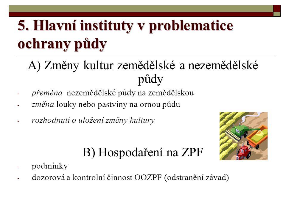 5. Hlavní instituty v problematice ochrany půdy