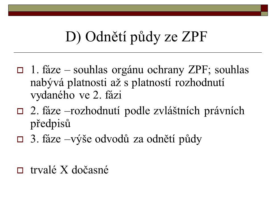 D) Odnětí půdy ze ZPF 1. fáze – souhlas orgánu ochrany ZPF; souhlas nabývá platnosti až s platností rozhodnutí vydaného ve 2. fázi.