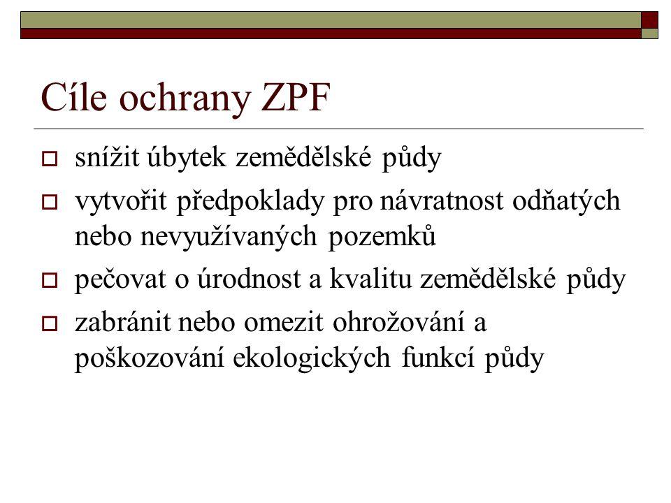 Cíle ochrany ZPF snížit úbytek zemědělské půdy
