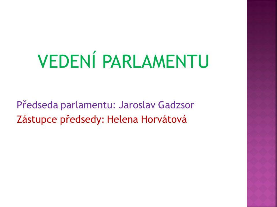 VEDENÍ PARLAMENTU Předseda parlamentu: Jaroslav Gadzsor