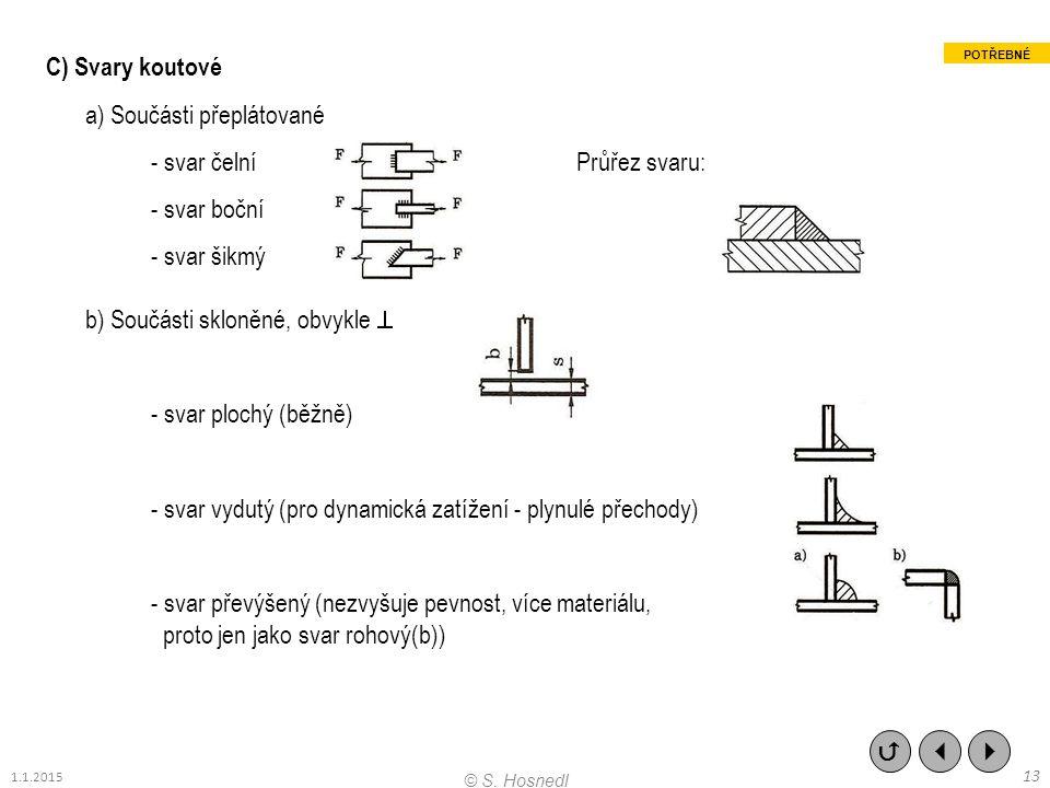 a) Součásti přeplátované - svar čelní Průřez svaru: - svar boční