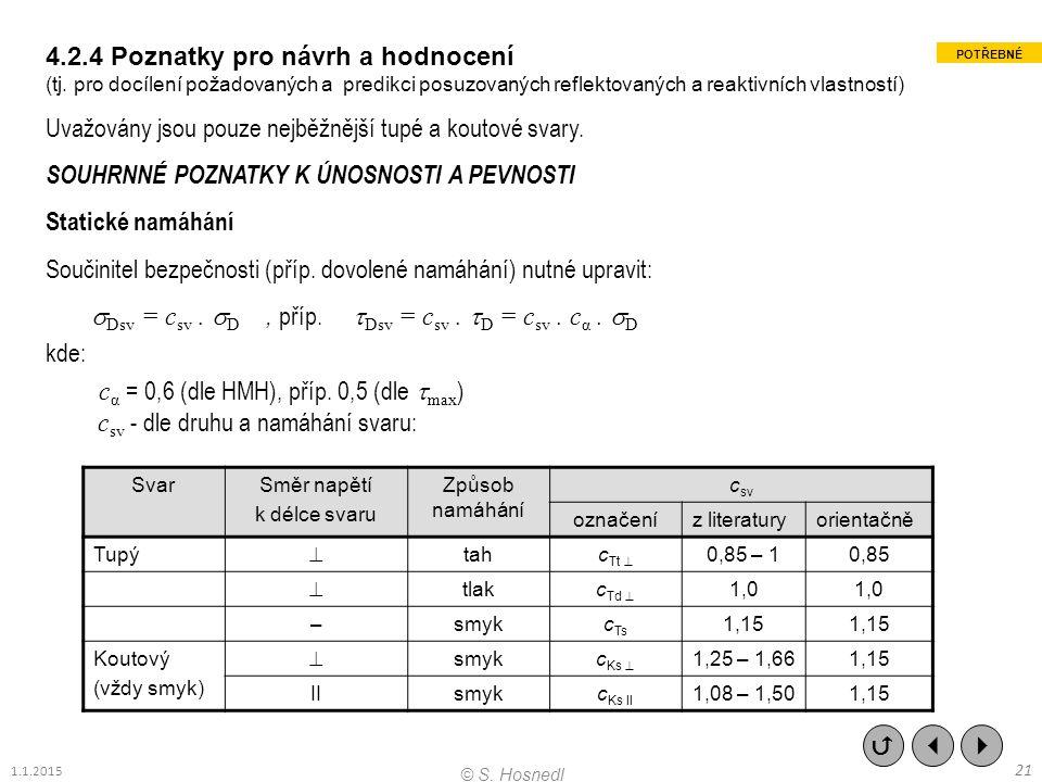 4.2.4 Poznatky pro návrh a hodnocení