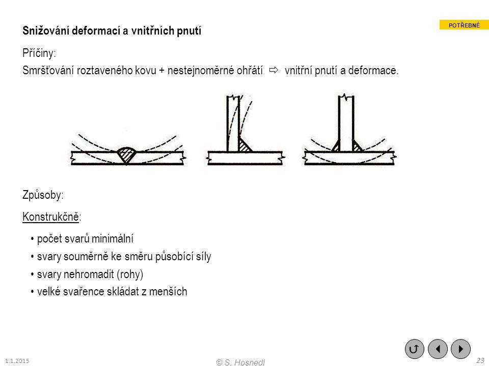 Snižování deformací a vnitřních pnutí Příčiny: