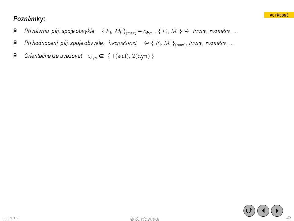 Poznámky: Při návrhu páj. spoje obvykle: { Fi, Mi }(max) = cdyn . { Fi, Mi }  tvary, rozměry, ...