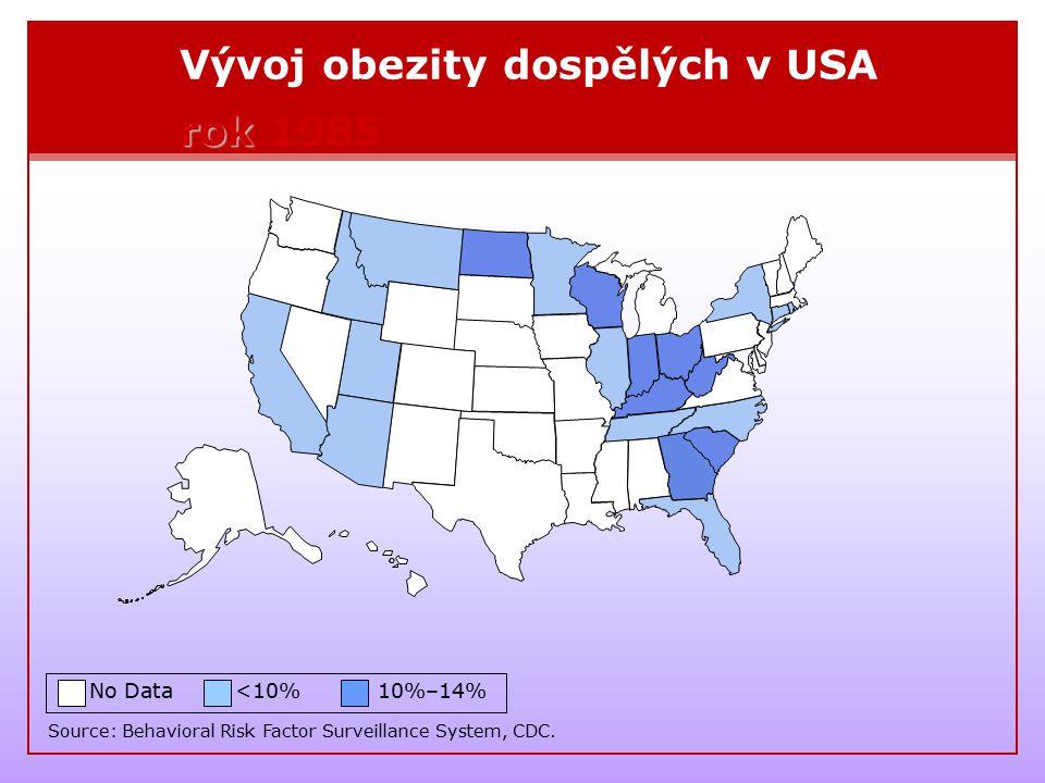 Vývoj obezity dospělých v USA rok 1985