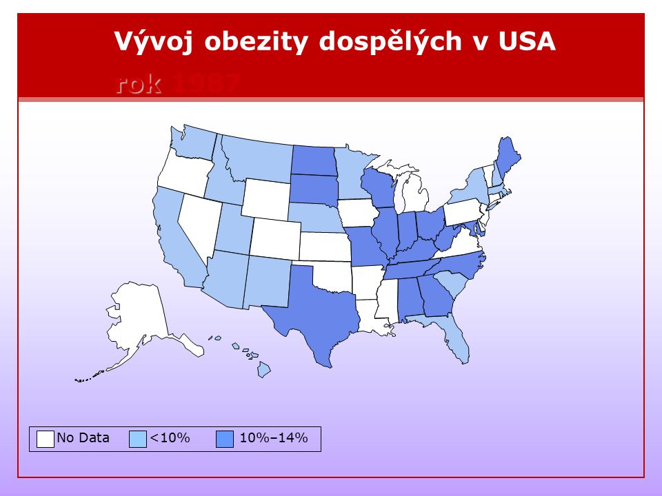 Vývoj obezity dospělých v USA rok 1987