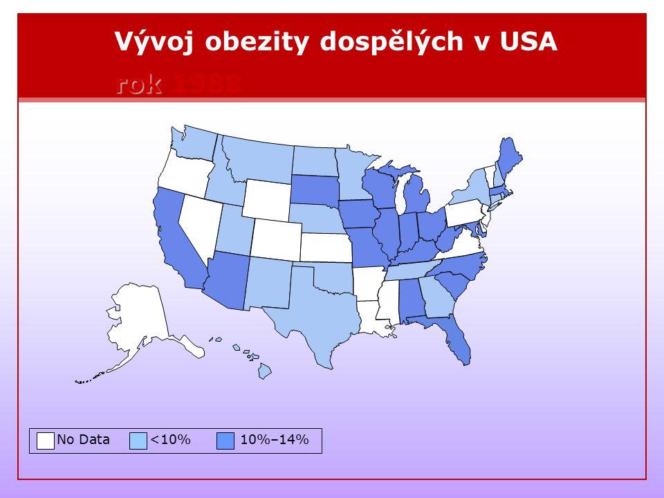 Vývoj obezity dospělých v USA rok 1988