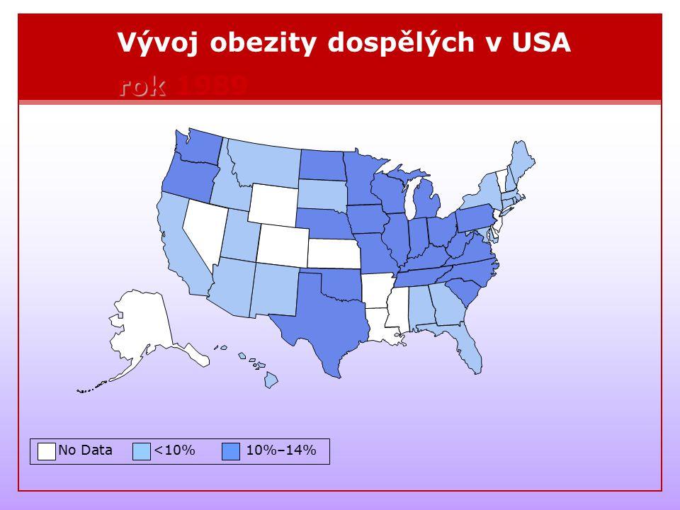 Vývoj obezity dospělých v USA rok 1989