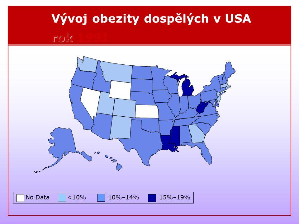 Vývoj obezity dospělých v USA rok 1991