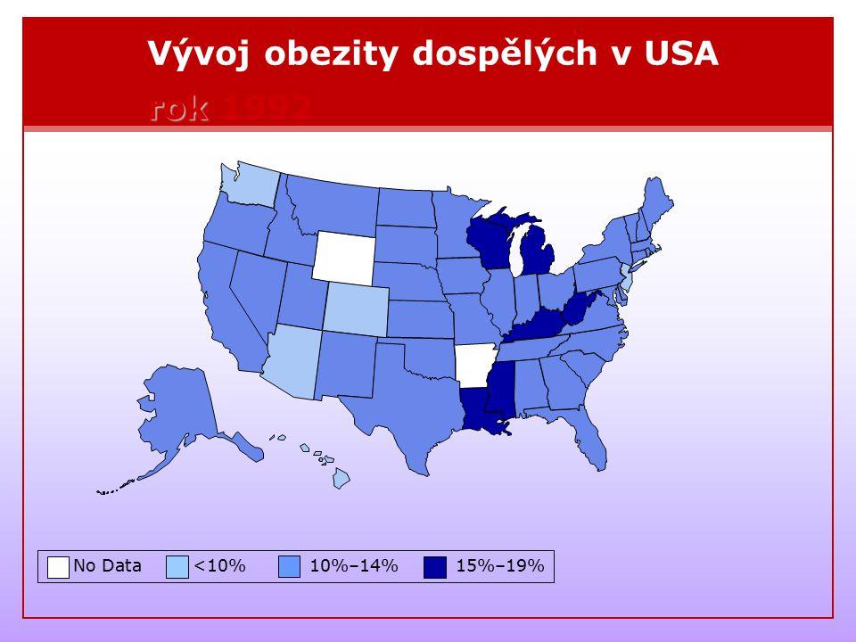 Vývoj obezity dospělých v USA rok 1992