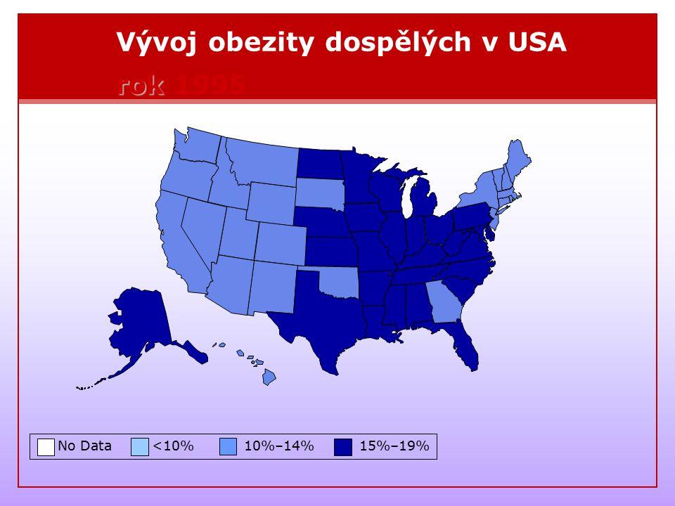 Vývoj obezity dospělých v USA rok 1995