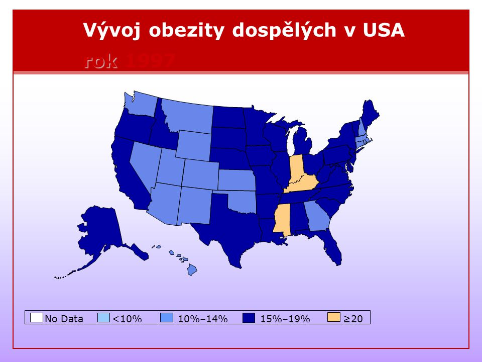 Vývoj obezity dospělých v USA rok 1997