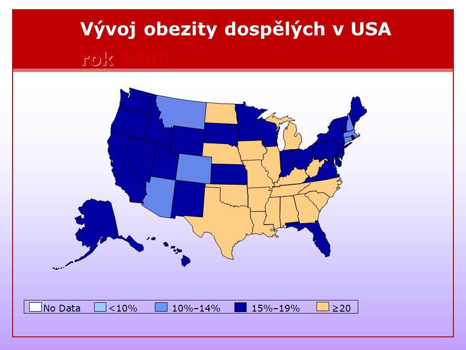 Vývoj obezity dospělých v USA rok 1999
