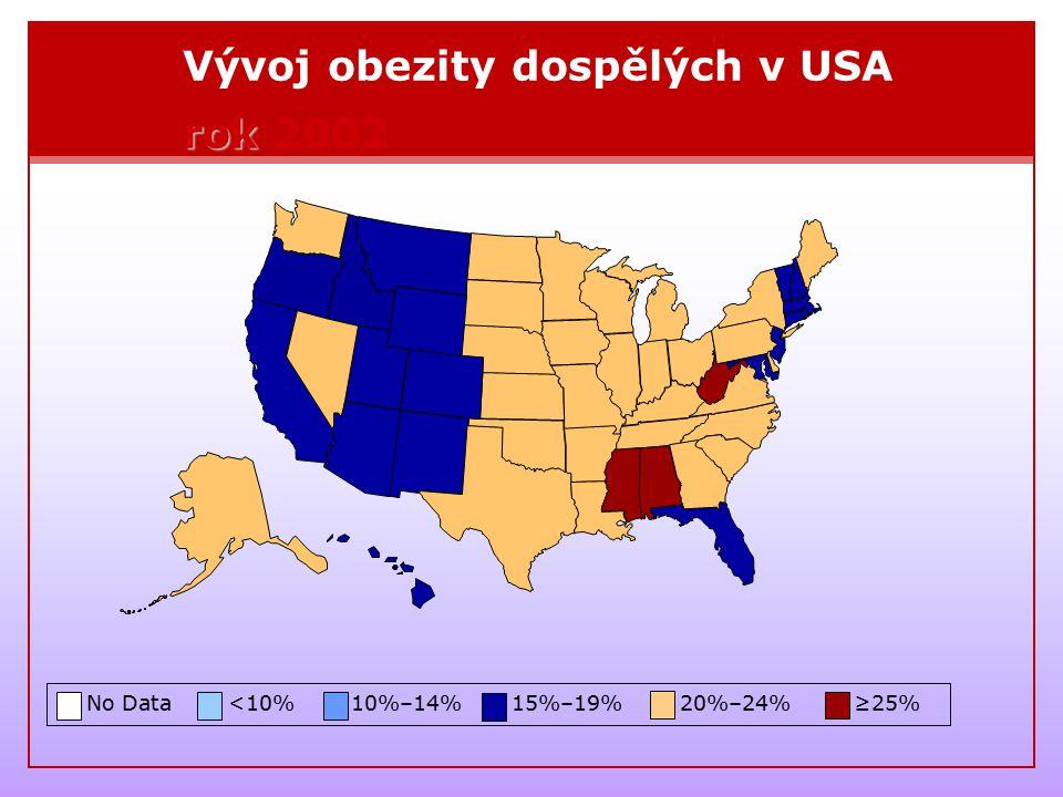 Vývoj obezity dospělých v USA rok 2002