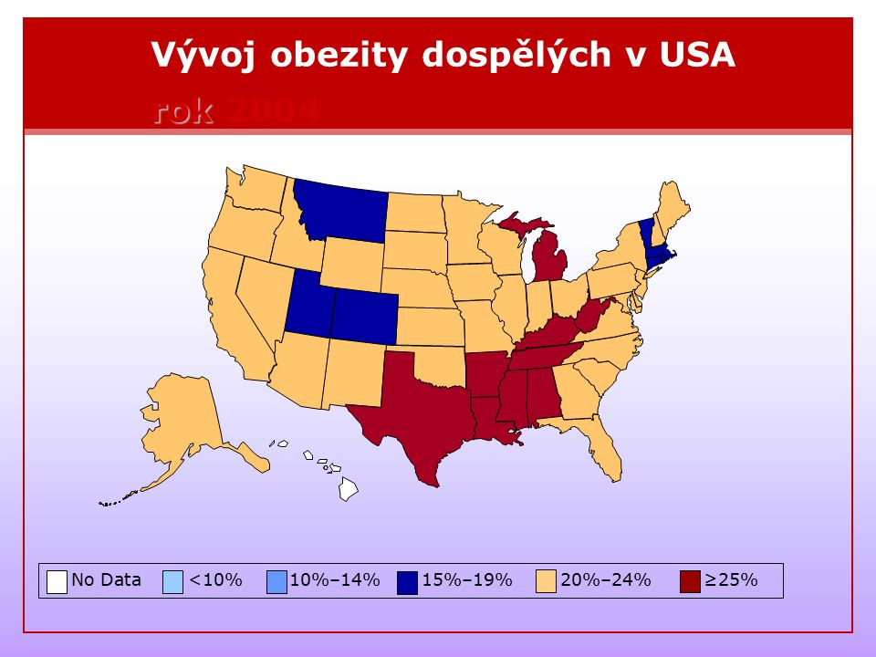 Vývoj obezity dospělých v USA rok 2004