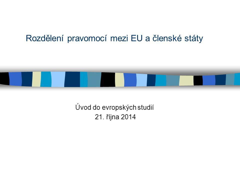 Rozdělení pravomocí mezi EU a členské státy