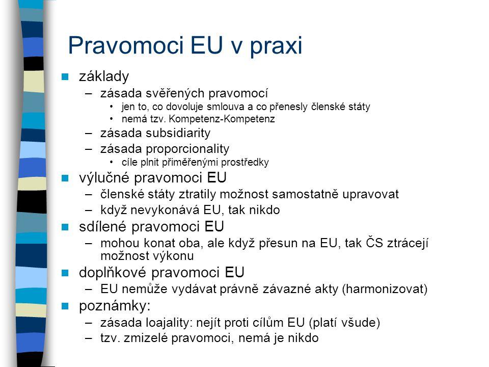 Pravomoci EU v praxi základy výlučné pravomoci EU sdílené pravomoci EU