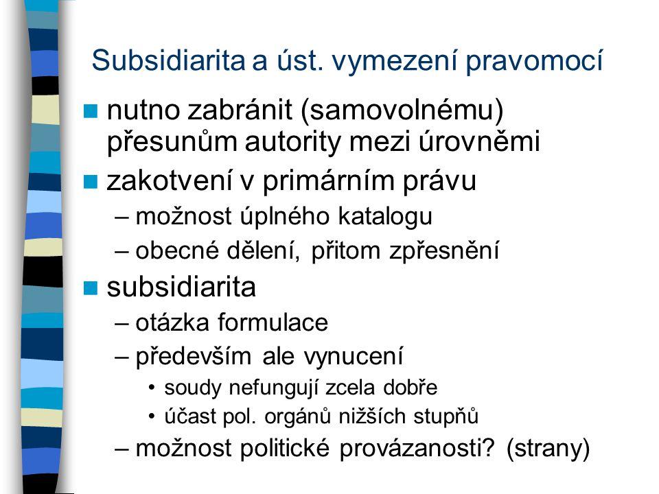 Subsidiarita a úst. vymezení pravomocí