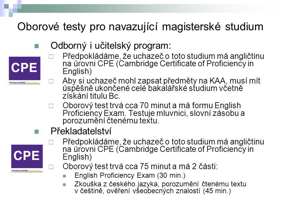 Oborové testy pro navazující magisterské studium