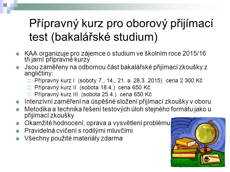Přípravný kurz pro oborový přijímací test (bakalářské studium)