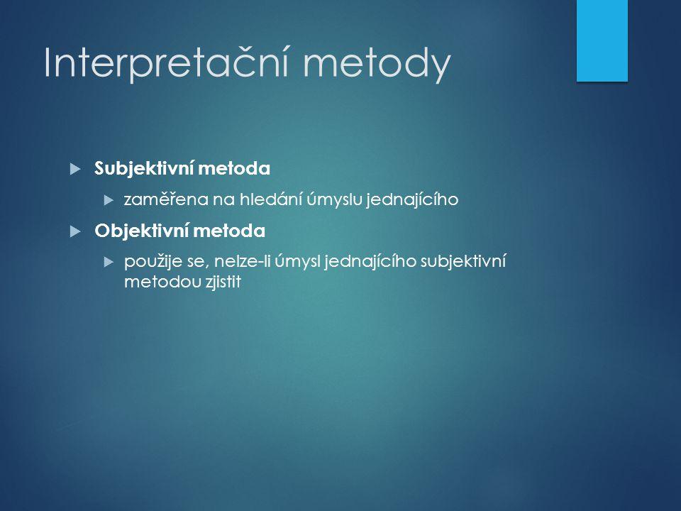 Interpretační metody Subjektivní metoda Objektivní metoda
