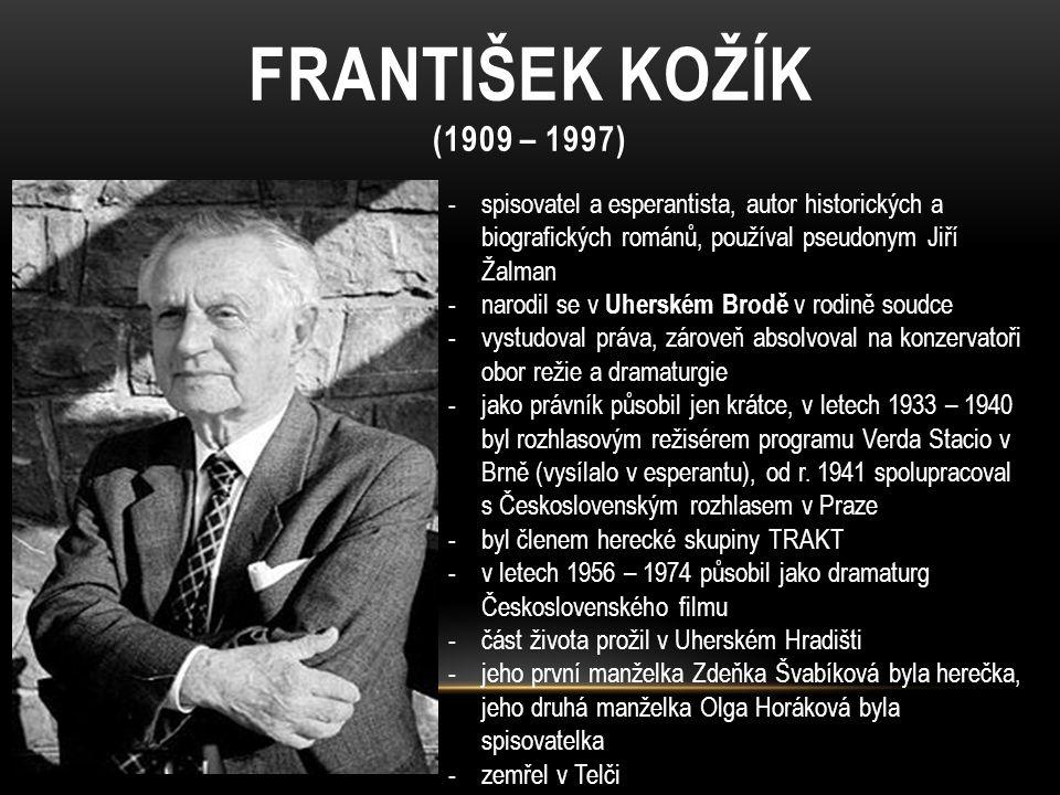 FRANTIŠEK KOŽÍK (1909 – 1997) spisovatel a esperantista, autor historických a biografických románů, používal pseudonym Jiří Žalman.