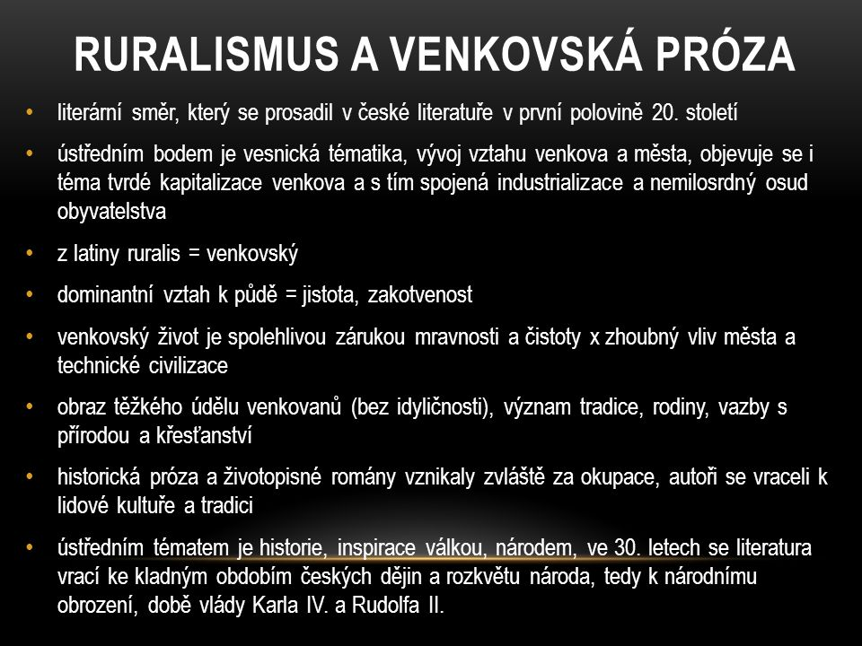 RURALISMUS A VENKOVSKÁ PRÓZA