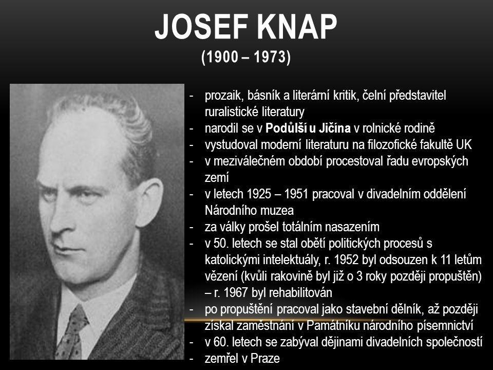 Josef knap (1900 – 1973) prozaik, básník a literární kritik, čelní představitel ruralistické literatury.