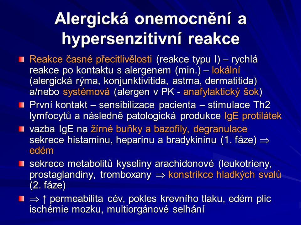 Alergická onemocnění a hypersenzitivní reakce