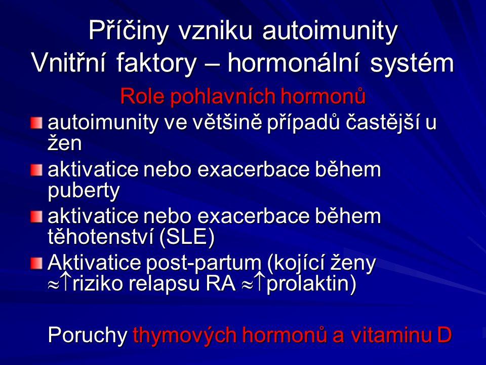 Příčiny vzniku autoimunity Vnitřní faktory – hormonální systém