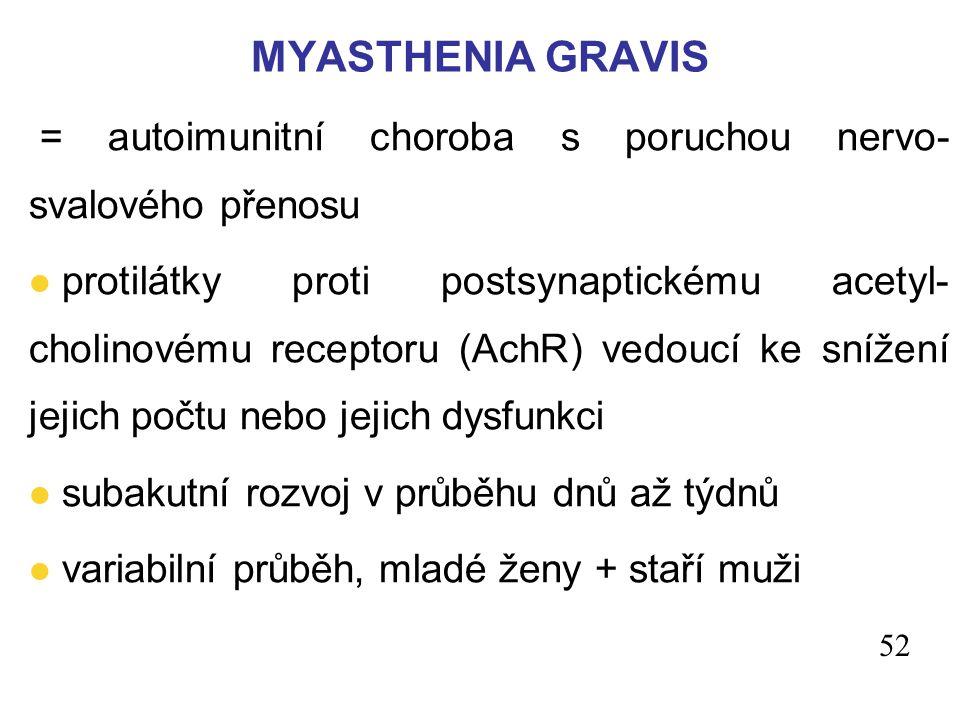 MYASTHENIA GRAVIS = autoimunitní choroba s poruchou nervo- svalového přenosu.