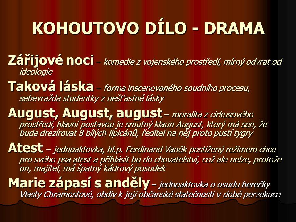 KOHOUTOVO DÍLO - DRAMA Zářijové noci – komedie z vojenského prostředí, mírný odvrat od ideologie.