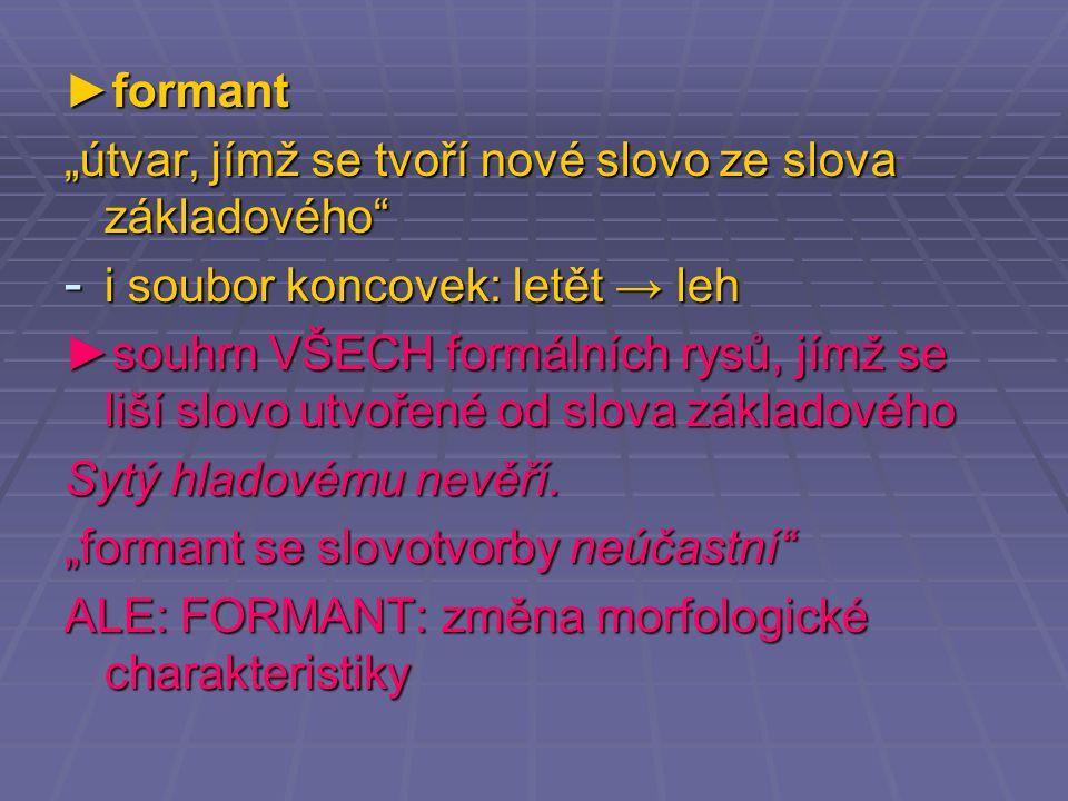 """►formant """"útvar, jímž se tvoří nové slovo ze slova základového i soubor koncovek: letět → leh."""